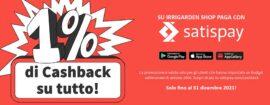 Satispay cashback su Irrigarden shop irrigazione online